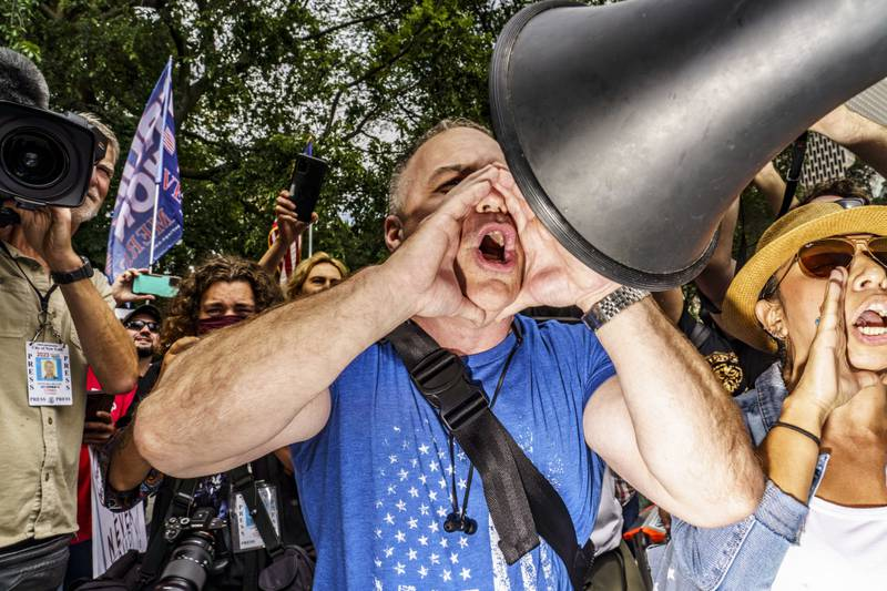 Demonstrators rallied on August 9, 2021 against New York City�s upcoming COVID-19 vaccination mandate, which would require proof of at least one vaccine dose for entry to indoor restaurants, gyms, and performances.