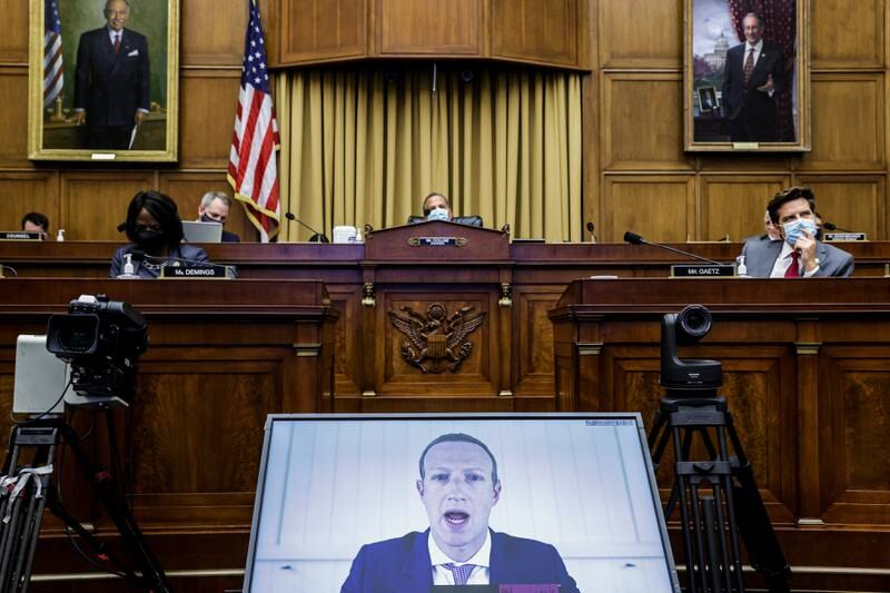 WASHINGTON, DC - JULY 29: Facebook CEO Mark Zuckerberg speaks via video conference during the House Judiciary Subcommittee on Antitrust, Commercial and Administrative Law hearing on Online Platforms and Market Power in the Rayburn House office Building, July 29, 2020 on Capitol Hill in Washington, DC.