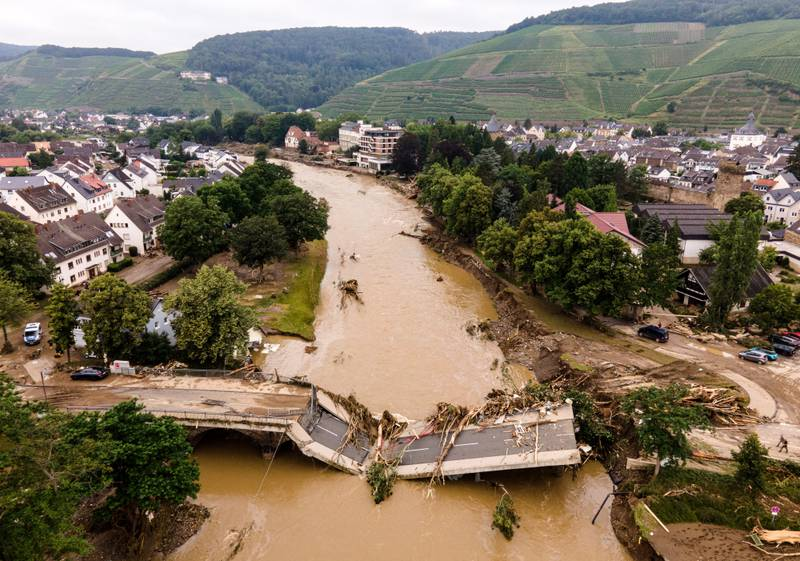 An aerial view taken with a drone shows a damaged bridge in Bad Neuenahr-Ahrweiler, Germany, 16 July 2021. Large parts of Western Germany were hit by heavy, continuous rain in the night to 15 July resulting in local flash floods that destroyed buildings and swept away cars.