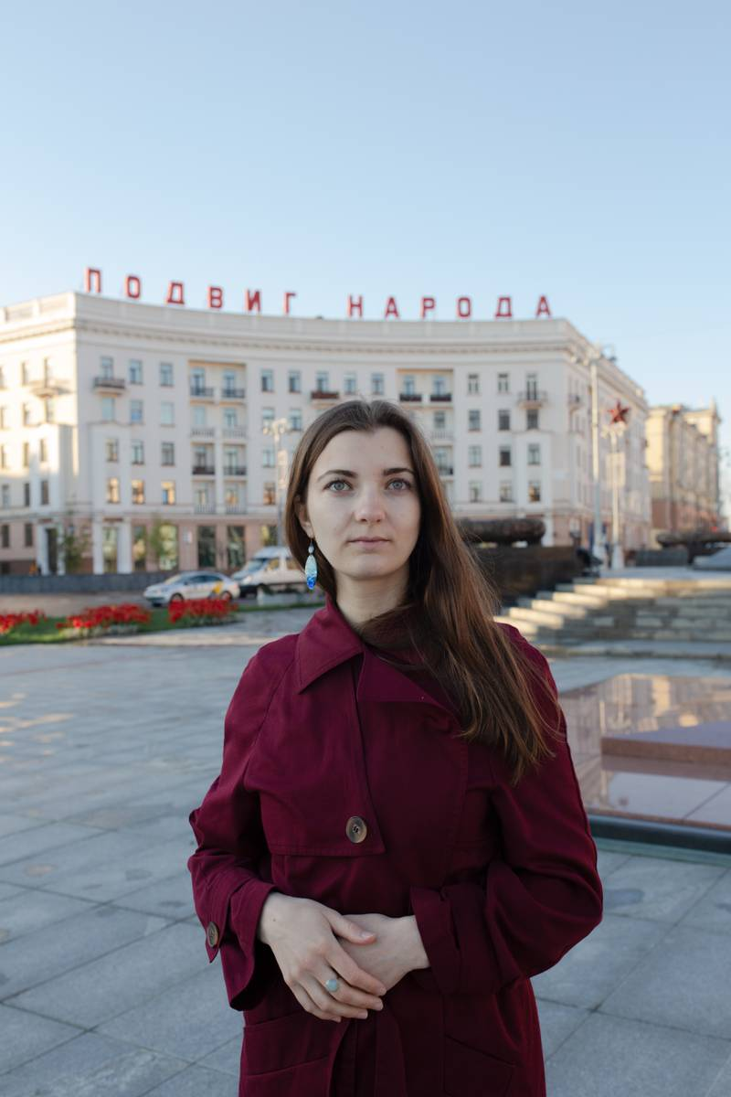 Portrait of the poet and translator Hanna Komar in Minsk. Victory Square, women's rallies and chains of solidarity started there.